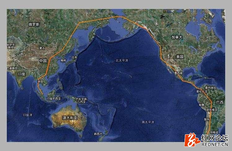 白令海峡(200公里海底隧道)-美国阿拉斯加—加拿大(1500公里)—美国