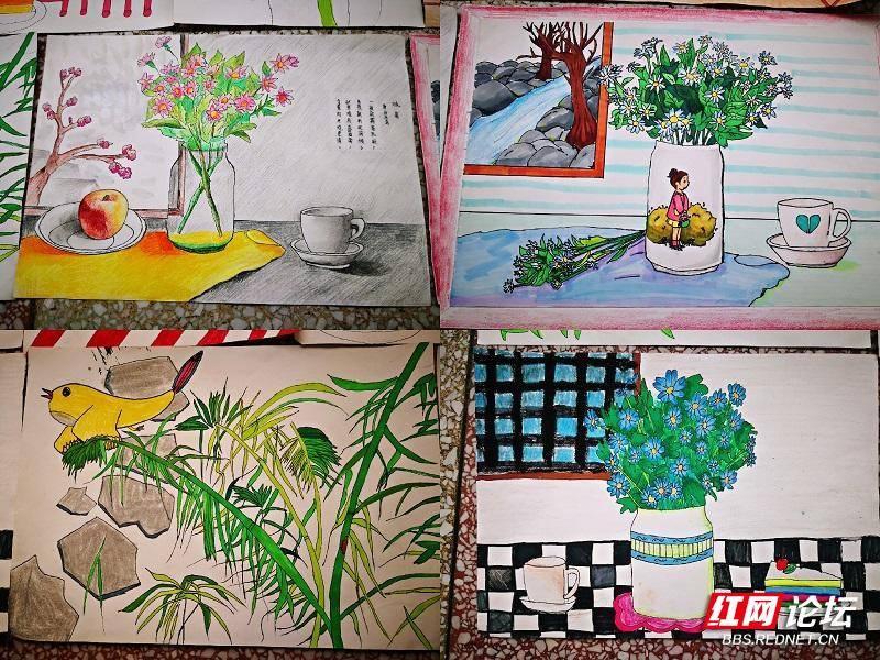 学生廉洁绘画作品——竹与菊图片